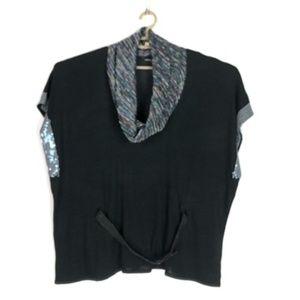 Custo Barcelona Cowl Neck Sequin Sleeves Top -XXL